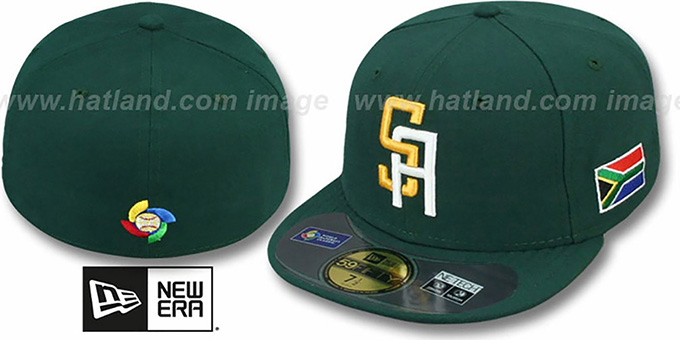 South Africa 'PERFORMANCE WBC' GAME Hat by New Era : pictured without stickers that these products are shipped with
