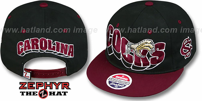 South Carolina '2T FLASHBACK SNAPBACK' Black-Burgundy Hat by Zephyr : pictured without stickers that these products are shipped with