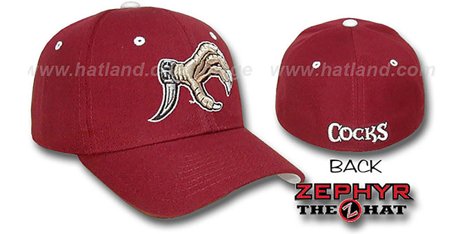 South Carolina 'DHS-XLINE' Fitted Hat by Zephyr - cardinal : pictured without stickers that these products are shipped with