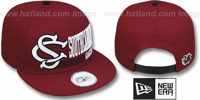 South Carolina 'RETRO-SNAPBACK' Burgundy Hat by New Era : pictured without stickers that these products are shipped with