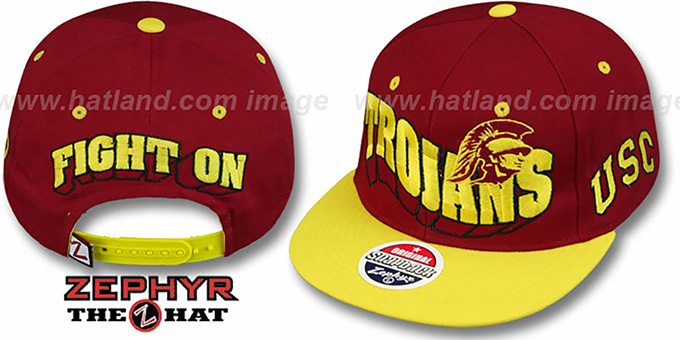 Southern Cal '2T FLASHBACK SNAPBACK' Burgundy-Gold Hat by Zephyr : pictured without stickers that these products are shipped with