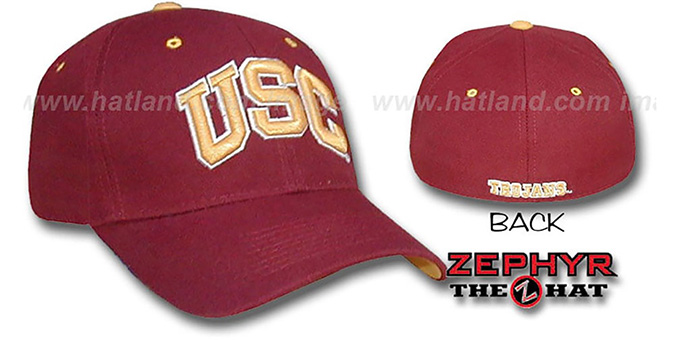 Southern Cal USC 'DH' Fitted Hat by Zephyr - burgundy(red) : pictured without stickers that these products are shipped with