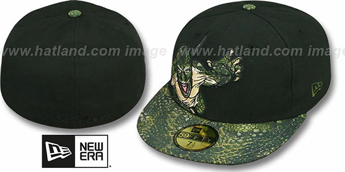 Spiderman 'LIZARD APPLIQUE' Black Fitted Hat by New Era : pictured without stickers that these products are shipped with