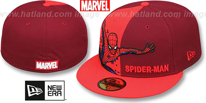 Spiderman 'PANEL-POP' Burgundy-Red Fitted Hat by New Era : pictured without stickers that these products are shipped with