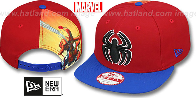 Spiderman 'QUARTER-SUB SNAPBACK' Red-Royal Hat by New Era : pictured without stickers that these products are shipped with