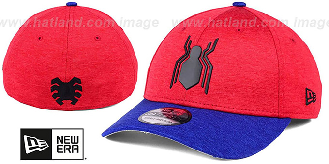 26f9e10207f Marvel Spiderman SHADOW LOGO FLEX Red-Royal Hat by New Era
