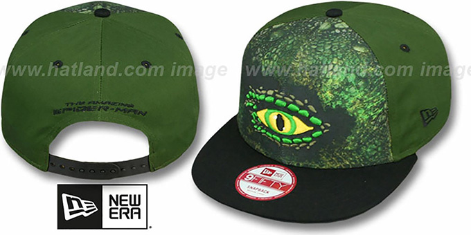 Spiderman 'SUB FRONT LIZARD SNAPBACK' Adjustable Hat by New Era : pictured without stickers that these products are shipped with