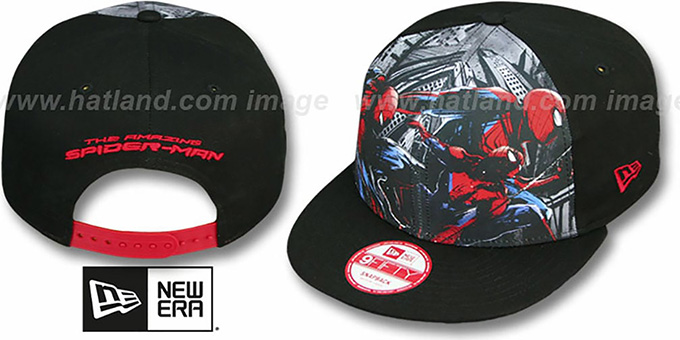 Spiderman 'SUB FRONT SNAPBACK' Adjustable Hat by New Era : pictured without stickers that these products are shipped with