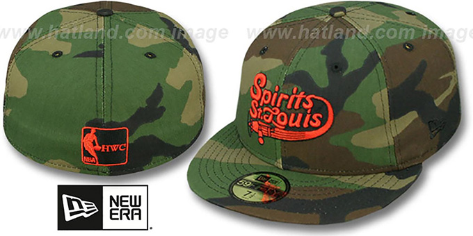 Spirits 'ABA ARMY CAMO' Fitted Hat by New Era : pictured without stickers that these products are shipped with