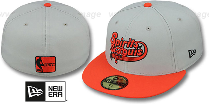 Spirits 'ABA TEAM-BASIC' Grey-Orange Fitted Hat by New Era : pictured without stickers that these products are shipped with