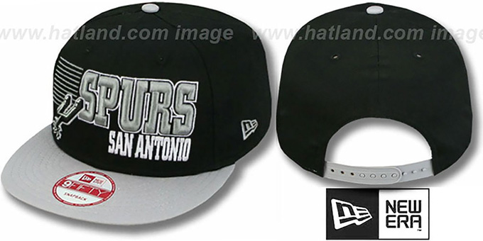 Spurs '2T BORDERLINE SNAPBACK' Black-Grey Hat by New Era : pictured without stickers that these products are shipped with