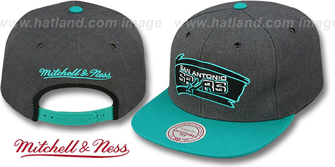 Spurs '2T-HEATHER SNAPBACK' Grey-Teal Hat by Mitchell & Ness : pictured without stickers that these products are shipped with