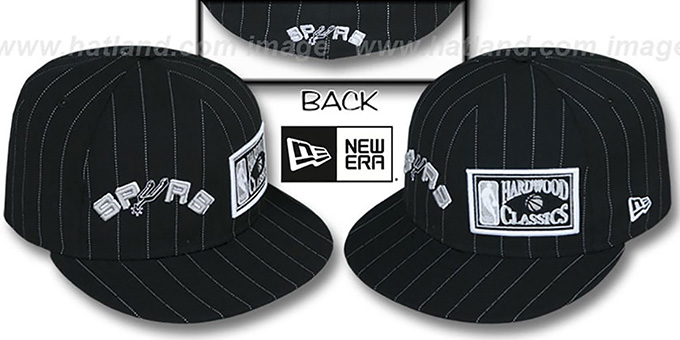San Antonio Spurs BIG-ONE DOUBLE WHAMMY Black-White Fitted Hat f1a25c17911d
