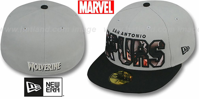 Spurs 'BIG WORD ACTION' Grey-Black Fitted Hat by New Era : pictured without stickers that these products are shipped with