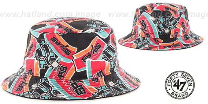 Spurs 'BRAVADO BUCKET' Hat by Twins 47 Brand : pictured without stickers that these products are shipped with