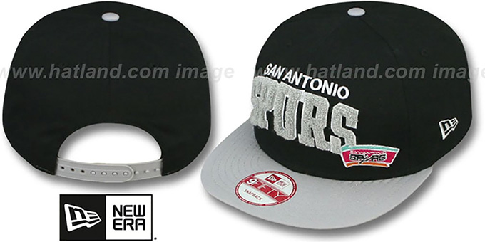 Spurs 'CHENILLE-ARCH SNAPBACK' Black-Grey Hat by New Era : pictured without stickers that these products are shipped with