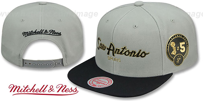 Spurs 'CITY CHAMPS SCRIPT SNAPBACK' Grey-Black Hat by Mitchell and Ness