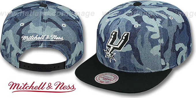 Spurs 'DENIM-CAMO SNAPBACK' Blue Hat by Mitchell and Ness : pictured without stickers that these products are shipped with