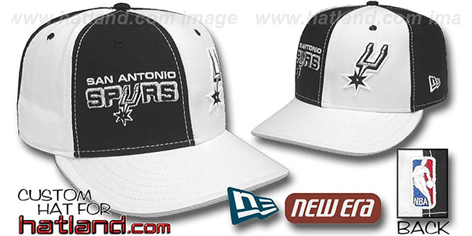 Spurs 'DOUBLE WHAMMY' Black-White Fitted Hat : pictured without stickers that these products are shipped with