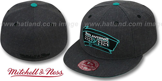 Spurs 'GREY HEDGEHOG' Fitted Hat by Mitchell & Ness : pictured without stickers that these products are shipped with