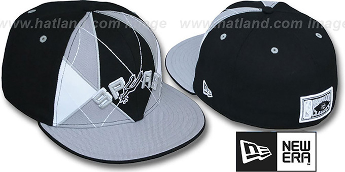 Spurs 'HARDWOOD BRADY' Fitted Hat by New Era - black-grey : pictured without stickers that these products are shipped with