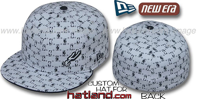 Spurs 'HW-NBA FLAWLESS FLOCKING' Grey-Black Fitted Hat : pictured without stickers that these products are shipped with
