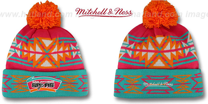 Spurs HWC 'GEOTECH' Knit Beanie by Mitchell and Ness : pictured without stickers that these products are shipped with