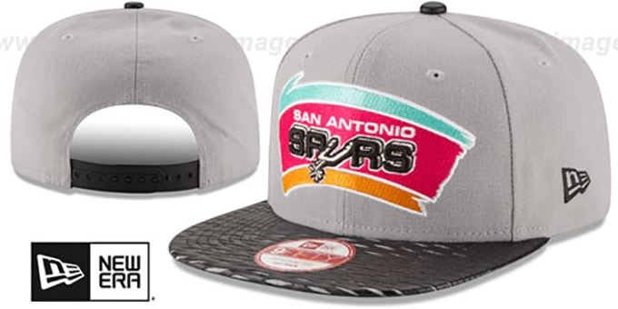 Spurs 'HWC LEATHER-RIP SNAPBACK' Grey-Black Hat by New Era : pictured without stickers that these products are shipped with