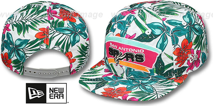 Spurs 'HWC TROPTRIP BLOOM SNAPBACK' Hat by New Era : pictured without stickers that these products are shipped with