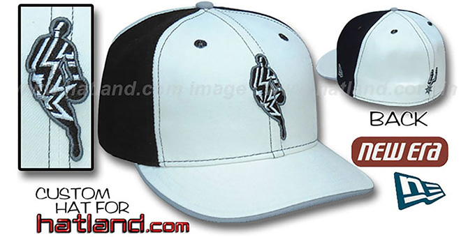 Spurs 'INSIDER PINWHEEL' White-Black Fitted Hat by New Era : pictured without stickers that these products are shipped with