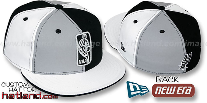 Spurs 'KEY-INSIDER PINWHEEL' Grey-Black-White Fitted Hat : pictured without stickers that these products are shipped with