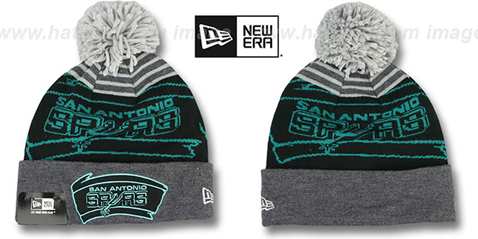 Spurs 'LOGO WHIZ' Black-Grey Knit Beanie Hat by New Era : pictured without stickers that these products are shipped with