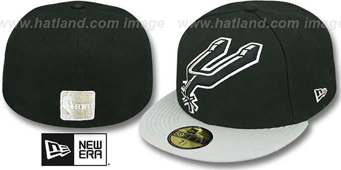 Spurs 'MIGHTY-XL' Black-Grey Fitted Hat by New Era : pictured without stickers that these products are shipped with