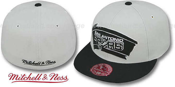Spurs 'MONOCHROME XL-LOGO' Grey-Black Fitted Hat by Mitchell and Ness : pictured without stickers that these products are shipped with