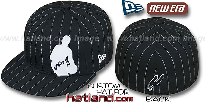 Spurs 'NBA SILHOUETTE PINSTRIPE' Black-White Fitted Hat by New Era : pictured without stickers that these products are shipped with