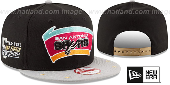 Spurs 'NBA STAR-TRIM SNAPBACK' Black-Grey Hat by New Era : pictured without stickers that these products are shipped with