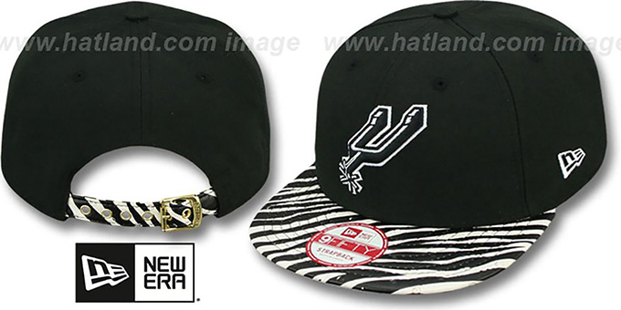 Spurs 'OSTRICH-ZEBRA STRAPBACK' Hat by New Era : pictured without stickers that these products are shipped with