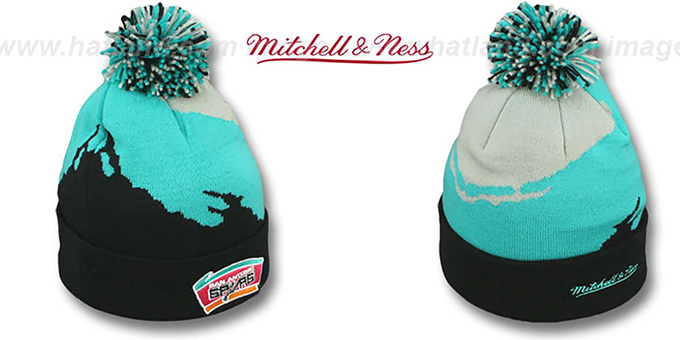 Spurs 'PAINTBRUSH BEANIE' by Mitchell and Ness : pictured without stickers that these products are shipped with