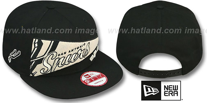 Spurs 'PENNANT SNAPBACK' Black Hat by New Era : pictured without stickers that these products are shipped with