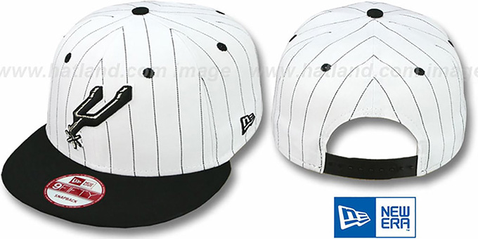 Spurs 'PINSTRIPE BITD SNAPBACK' White-Black Hat by New Era : pictured without stickers that these products are shipped with