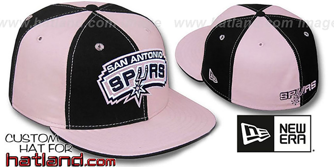 Spurs 'PINWHEEL' Black-Pink Fitted Hat by New Era : pictured without stickers that these products are shipped with
