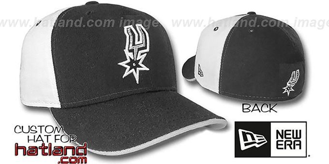 Spurs 'PINWHEEL' Black-White Fitted Hat by New Era : pictured without stickers that these products are shipped with