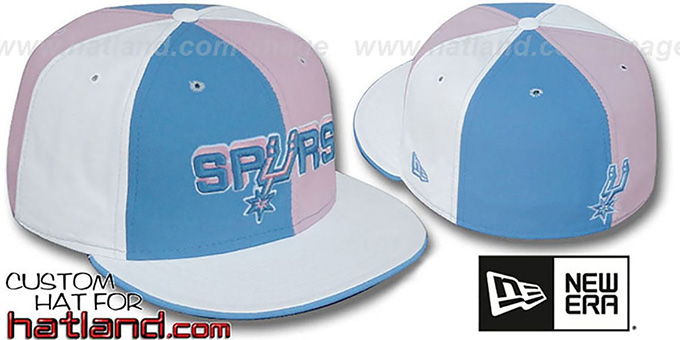 Spurs 'PINWHEEL' Columbia-Pink-White Fitted Hat by New Era : pictured without stickers that these products are shipped with