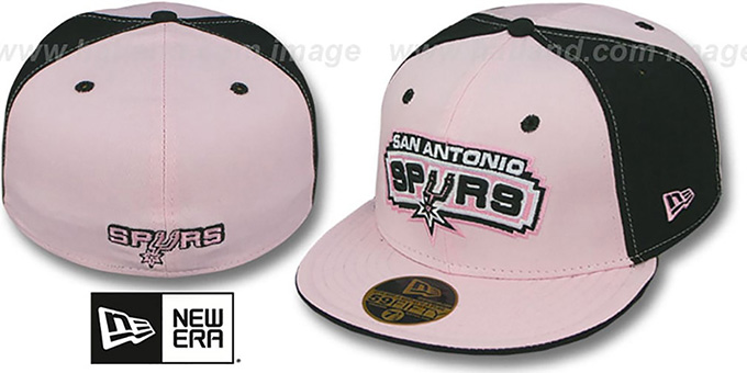 Spurs 'PINWHEEL' Light Pink-Black Fitted Hat by New Era : pictured without stickers that these products are shipped with