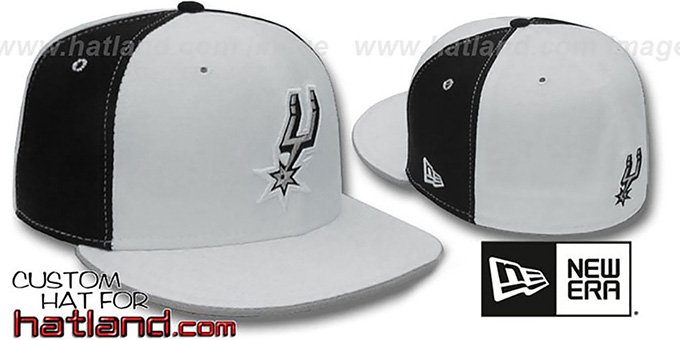 Spurs 'PINWHEEL' White-Black Fitted Hat by New Era : pictured without stickers that these products are shipped with