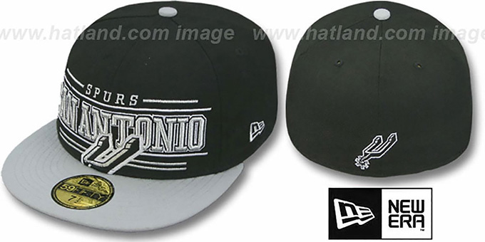 Spurs 'RETRO-SMOOTH' Black-Grey Fitted Hat by New Era : pictured without stickers that these products are shipped with