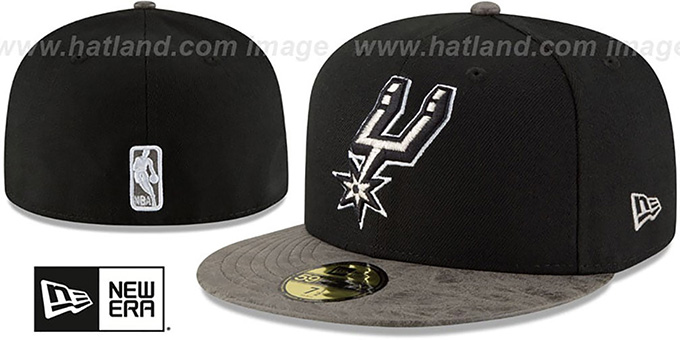 Spurs 'RUSTIC-VIZE' Black-Grey Fitted Hat by New Era : pictured without stickers that these products are shipped with