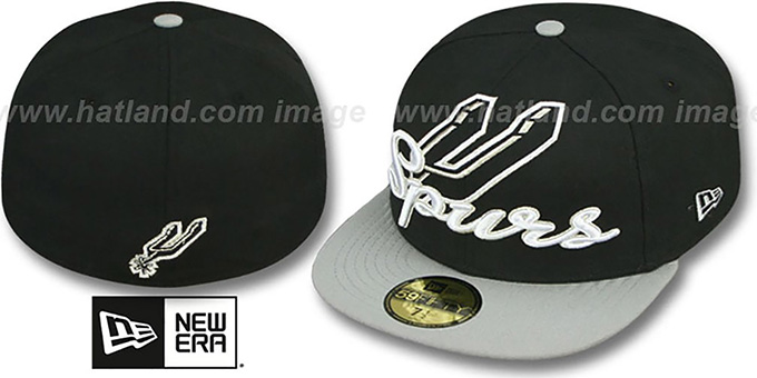 Spurs 'SCRIPT-PUNCH' Black-Grey Fitted Hat by New Era : pictured without stickers that these products are shipped with