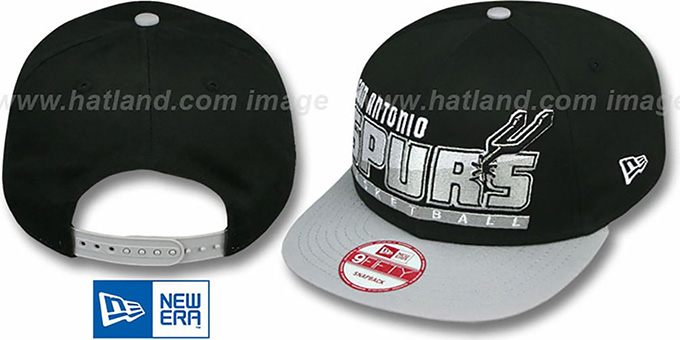 Spurs 'SLICE-N-DICE SNAPBACK' Black-Grey Hat by New Era : pictured without stickers that these products are shipped with