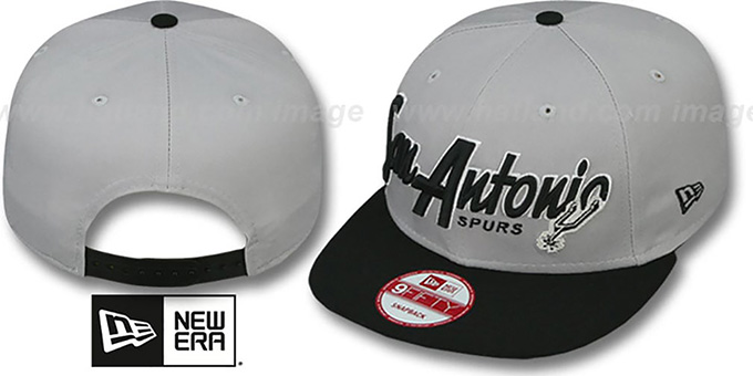 Spurs 'SNAP-IT-BACK SNAPBACK' Grey-Black Hat by New Era : pictured without stickers that these products are shipped with
